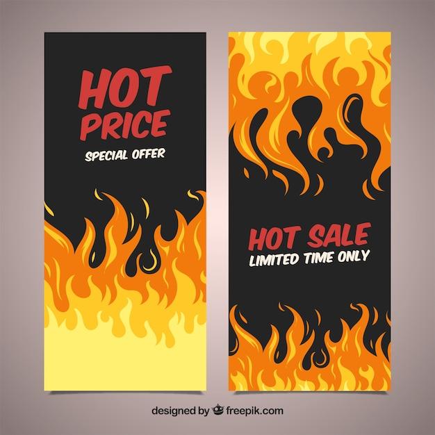 Verkaufsfahnen mit feuer Kostenlosen Vektoren
