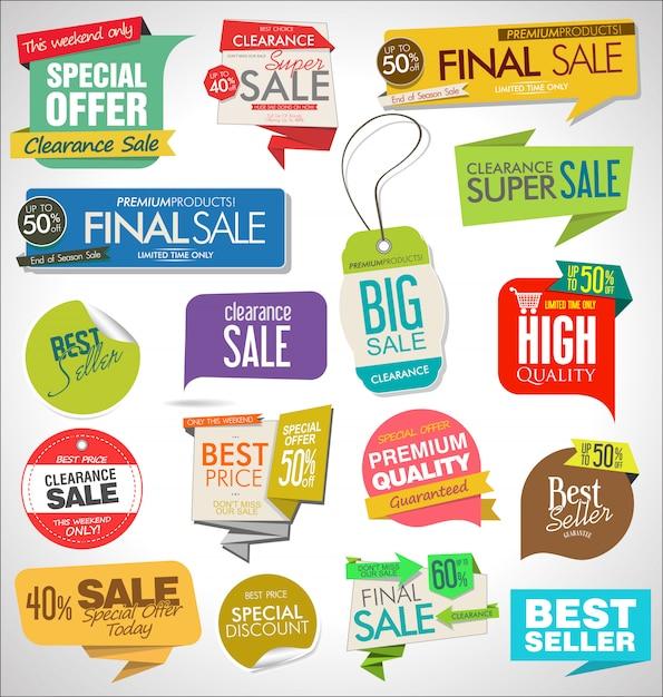 Verkaufsfahnen Premium Vektoren