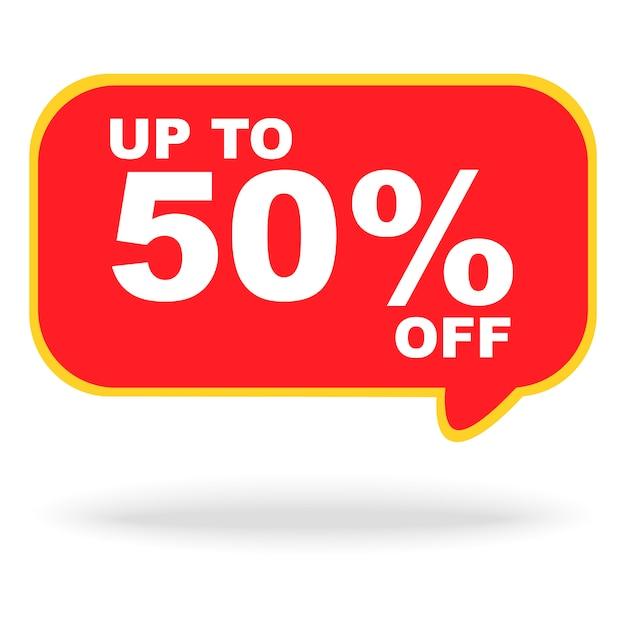 Verkaufsfahnenrabatt bis zu 50% auf der roten chatzeichenfahne für verkaufsförderungsereignis lokalisiert Premium Vektoren