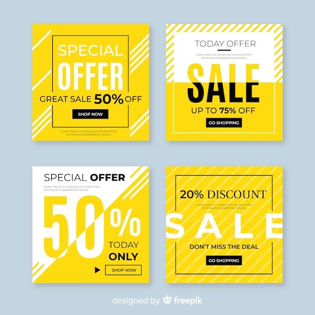 Verkaufsförderungsfahnen für social media-sammlung Kostenlosen Vektoren