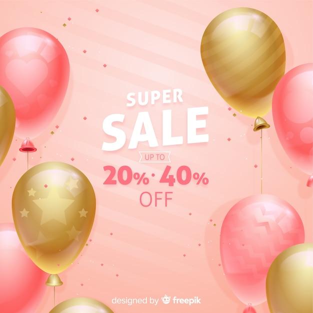 Verkaufshintergrund mit realistischen ballonen Kostenlosen Vektoren