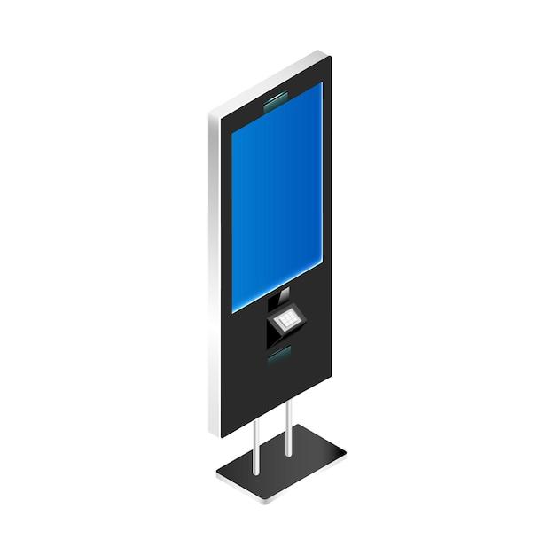 Verkaufskiosk mit realistischer illustration des leeren bildschirms isoliert Premium Vektoren