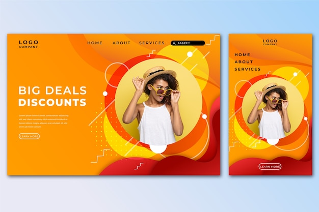 Verkaufslandungsseitenschablone mit foto Kostenlosen Vektoren