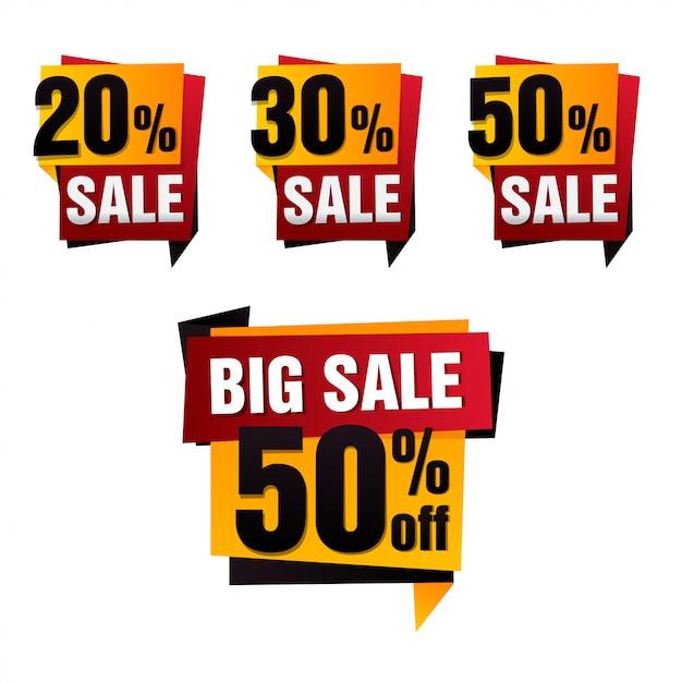 Verkaufspapier banner. verkaufshintergrund. großer verkauf. sale tag set. verkaufsplakat. sonderangebot Premium Vektoren