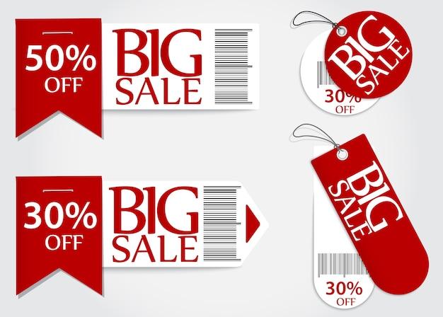 Verkaufsprozentsatzverkauf der verkaufskarte roter Premium Vektoren