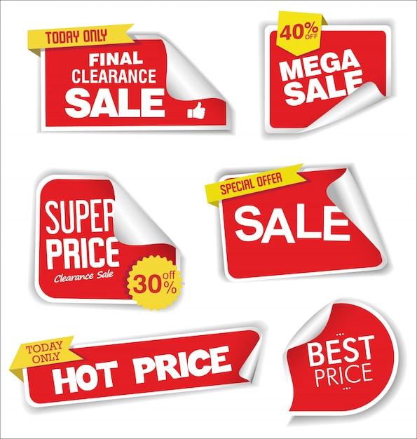 Verkaufsrabattmarken oder aufkleberauslegung Premium Vektoren