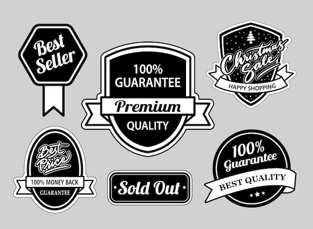 Verkaufsschlager und weihnachtsverkaufsabzeichen schwarzweiss gut Premium Vektoren