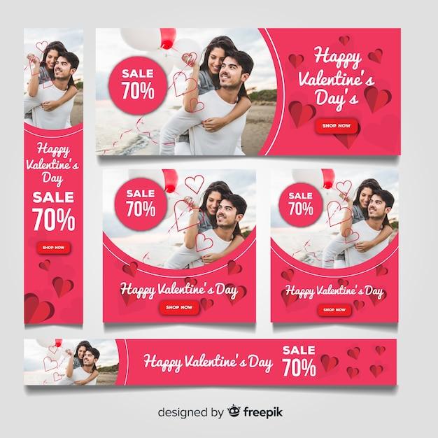 Verkaufswebebanner des valentinstags Kostenlosen Vektoren