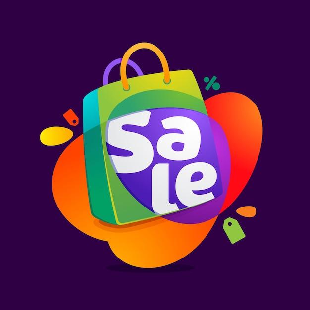 Verkaufswort mit einkaufstaschensymbol und verkaufstag. Premium Vektoren