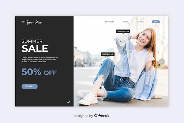 Verkaufszielseite mit foto Kostenlosen Vektoren