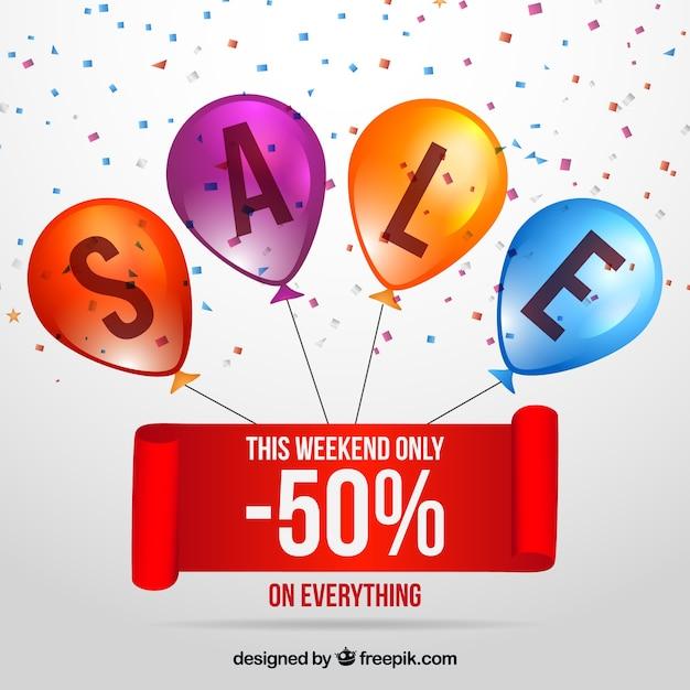 Verkaufszusammensetzung mit realistischen ballonen und konfettis Kostenlosen Vektoren