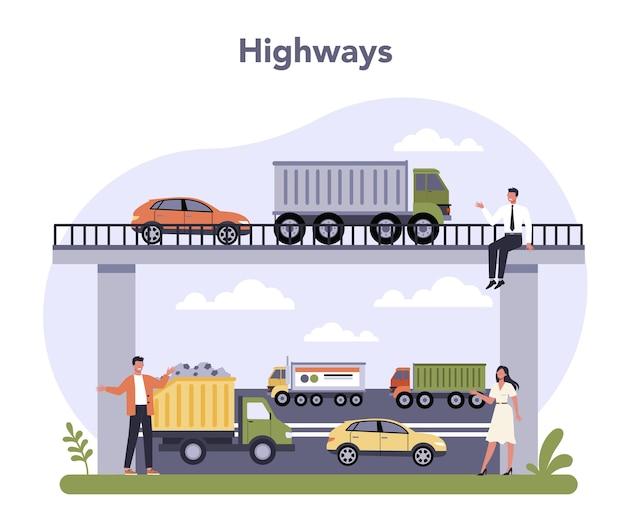 Verkehrsinfrastruktursektor der wirtschaft. Premium Vektoren