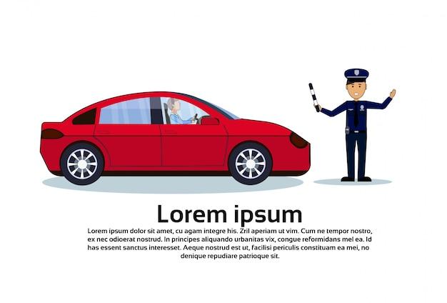 Verkehrskontroller-polizist mit dem auto lokalisiert Premium Vektoren