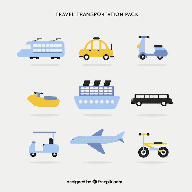 Verkehrsmittel pack Kostenlosen Vektoren