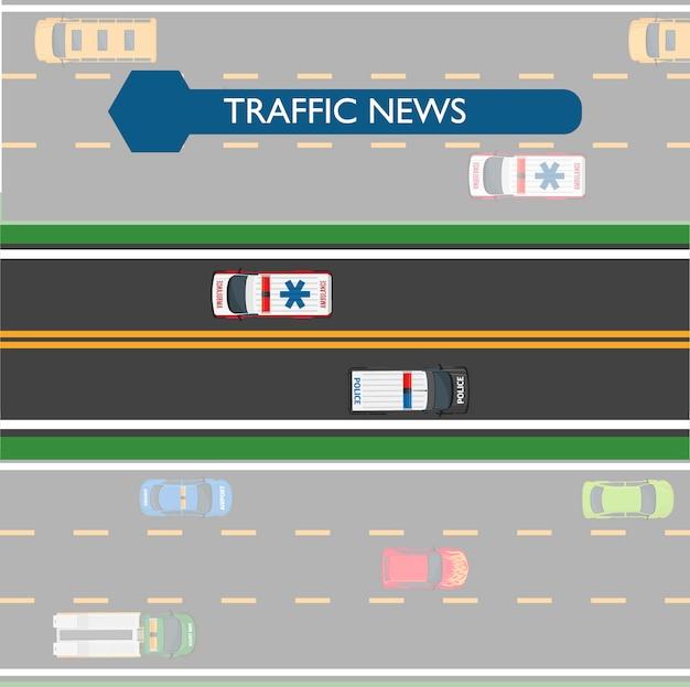 Verkehrsnachrichten-ikone mit straßenlinien und transport Premium Vektoren