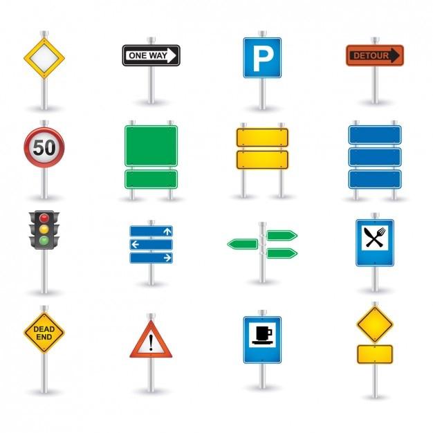 Verkehrsschild Icon Set Kostenlose Vektoren