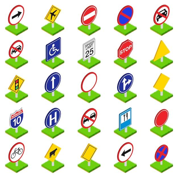 Verkehrsschild-icon-set Premium Vektoren