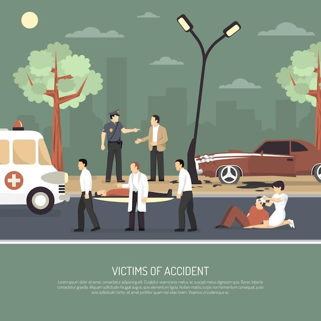 Verkehrsunfall-erste-hilfe-flachplakat Kostenlosen Vektoren