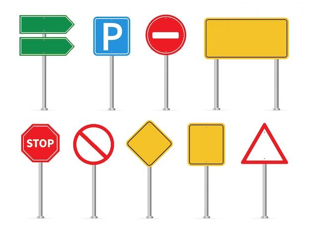 Verkehrszeichen eingestellt. straßenschilder Premium Vektoren