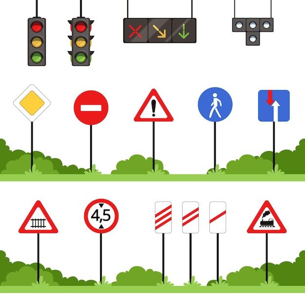 Verkehrszeichen gesetzt, verschiedene verkehrszeichenvektorillustrationen Premium Vektoren