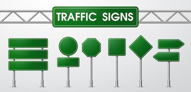 Verkehrszeichen im realistischen stil gefangen von der straße. Premium Vektoren