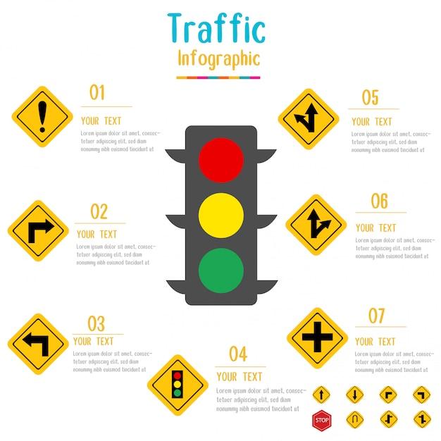 Verkehrszeichen infographic ampel mit datenelementen auch im corel abgehobenen betrag. Premium Vektoren