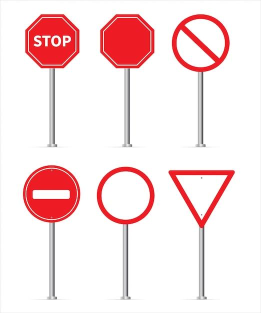 Verkehrszeichen stop gesetzt Premium Vektoren