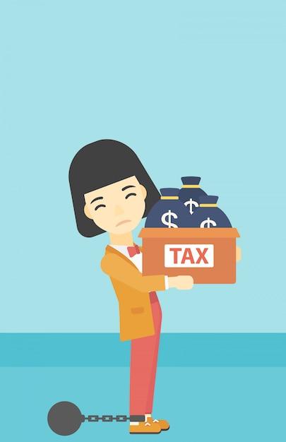 Verkettete geschäftsfrau mit den taschen voll von den steuern Premium Vektoren