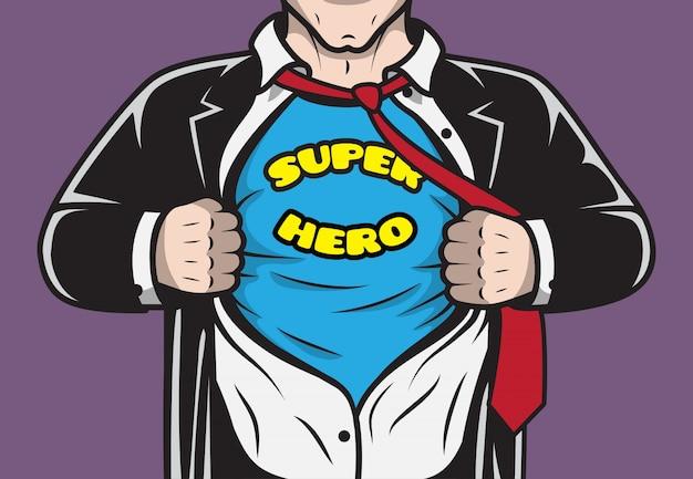 Verkleidete versteckte comic-buch superheld geschäftsmann reißt seine hemd-konzept vektor-illustration Kostenlosen Vektoren