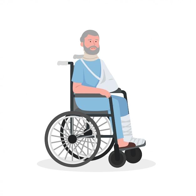 Verletzter alter mann auf rollstuhl Premium Vektoren