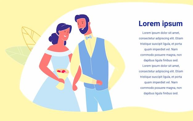 Verliebte gerade verheiratete braut und bräutigam des glücklichen paars Premium Vektoren