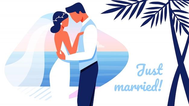 Verliebte gerade verheiratete glückliche paar-hochzeits-fahne Premium Vektoren