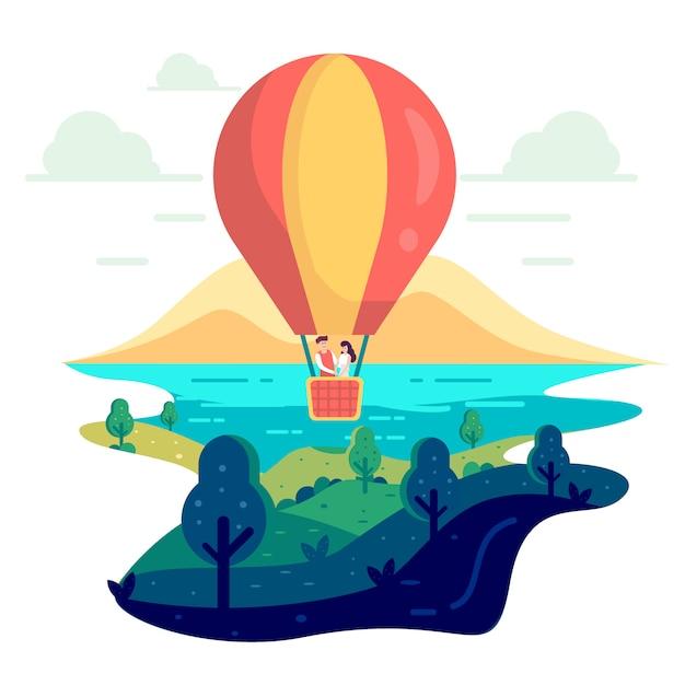 Verliebtes paar fliegt auf einem heißluftballon. Premium Vektoren