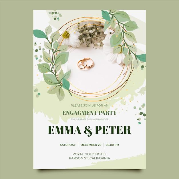 Verlobungseinladungsschablone mit foto Premium Vektoren