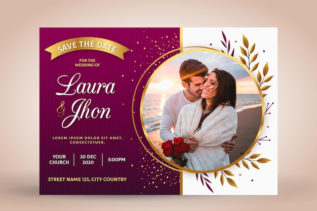 Verlobungseinladungsschablone mit foto Kostenlosen Vektoren