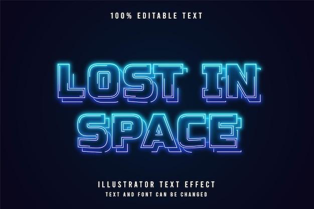 Verloren im raum, 3d bearbeitbarer texteffekt blaue abstufung neon-stil-effekt Premium Vektoren