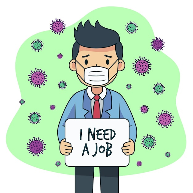 Verlustjob aufgrund einer coronavirus-krise Kostenlosen Vektoren