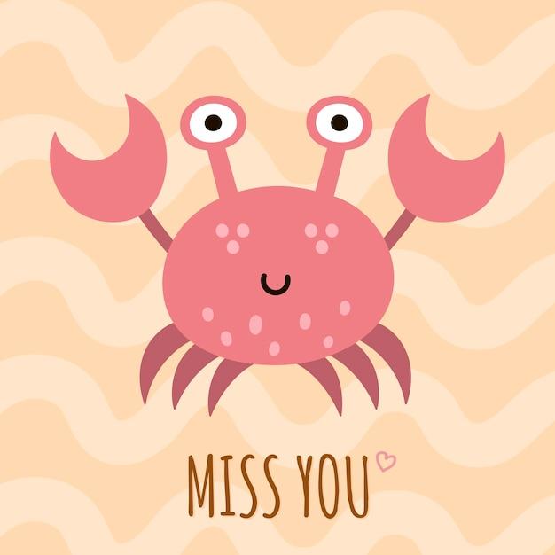 Vermisse dich süße karte, poster mit einer lustigen krabbe. Premium Vektoren