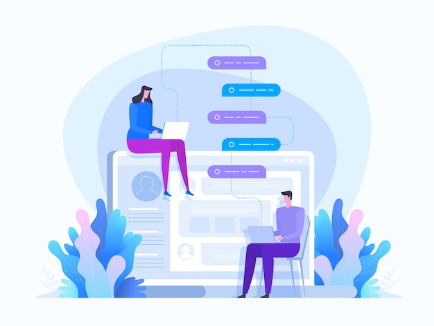 Vernetzung. kommunikation in sozialen netzwerken. ein mädchen und ein mann unterhalten sich Premium Vektoren