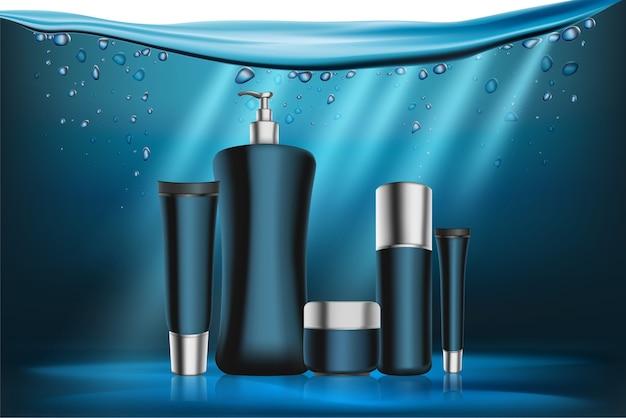 Verpackung blaue kosmetikserie Premium Vektoren