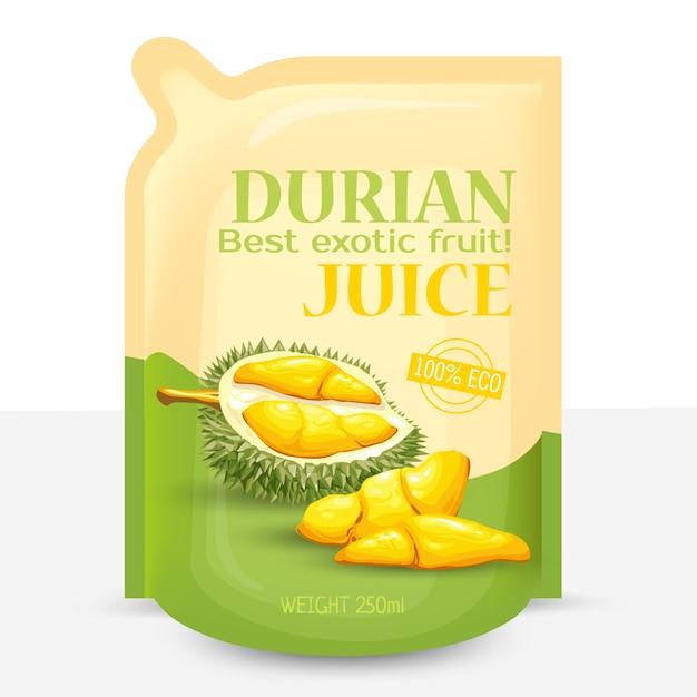 Verpackung für saft aus exotischen durian früchten, Kostenlosen Vektoren