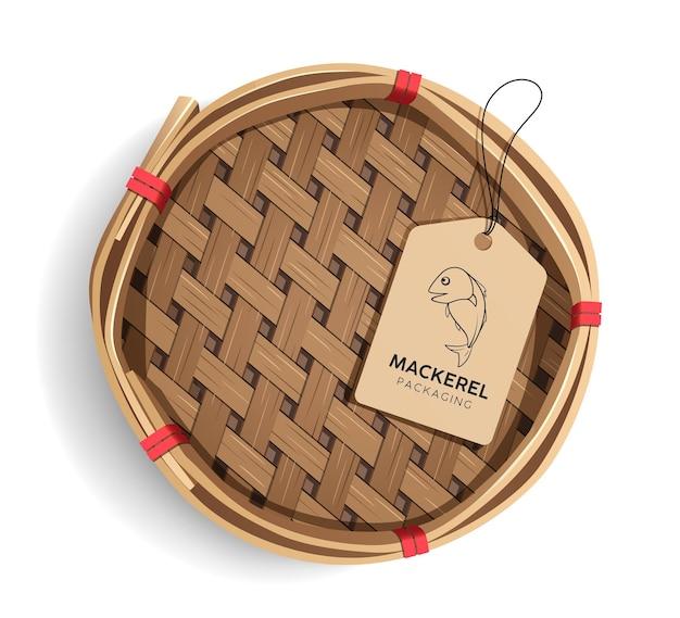 Verpackung makrele korb, produkt realistische vorlage design mit etikett Premium Vektoren