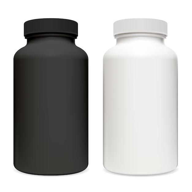 Verpackung von vitaminpräparaten. schwarzweiss-plastikpillenbehälter-apotheken-tablettglasillustration ohne etikett und logo. Premium Vektoren