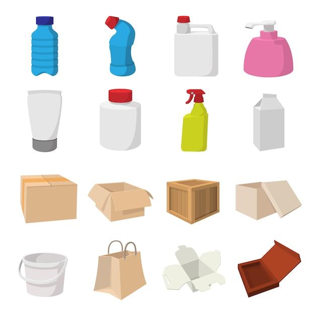 Verpackungskarikaturikonen stellten für netz und tragbare geräte ein Premium Vektoren