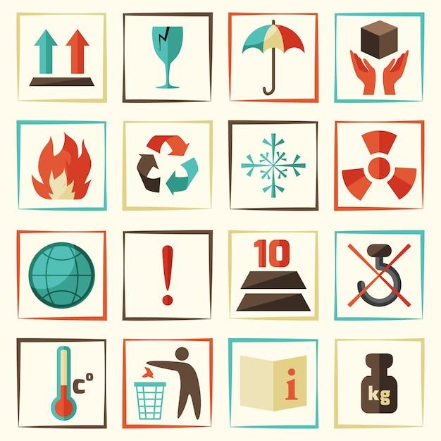 Verpackungssymbole oder -ikonen eingestellt Kostenlosen Vektoren