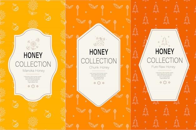Verpackungsvorlage mit mustern. natürliche honigsammlung. Premium Vektoren