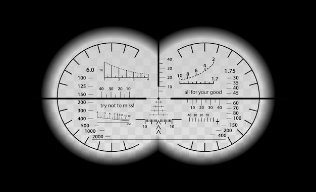 Verrückter binokularer skalensatz Premium Vektoren