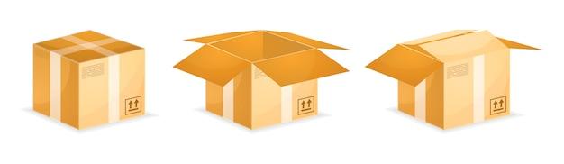 Versandkartons aus isometrischem karton Premium Vektoren