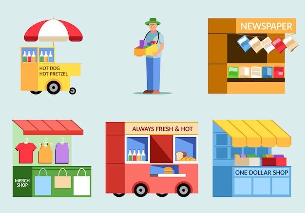Verschieden von der flachen illustration des straßenlebensmittelverkäufers. Premium Vektoren