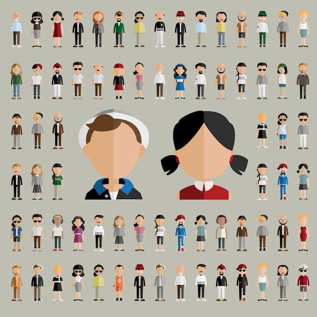 Verschiedenartigkeits-gemeinschaftsleute-flaches design-ikonen-konzept Kostenlosen Vektoren
